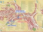 map showing position of property, access, free parking, etc