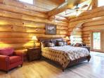 The Honeymoon Suite:  extra large master bdrm + bath on main level, mtn view deck, TV, King bed