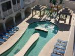 Balcony view of lazy river/kiddie water play area