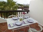 Outside dining on terrace in Casa Kirbs 1
