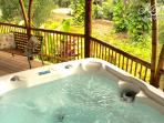 Hot tub awaits after your daily adventures.