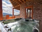 Ahhh, the warm bubbling water of the hot tub! Relax and unwind after a day of hiking or shopping!