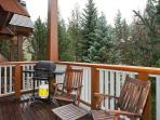 Private Deck with BBQ, Wooden Chairs and Views of the Slopes