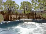 Extra large hot tub for enjoying starry nights and mountain view days