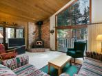 Living Area With A Wood Burning Fireplace