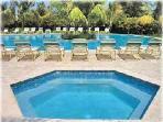 jacuzzi de agua de caliente y piscina con isla #2