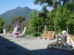 jardin extérieur vue montagne
