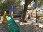 children playground with trampoline