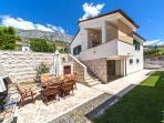 Front view, outdoor furniture, Villa Zivana, Dugi Rat, Split Riviera