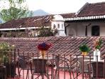 Villas de la Ermita 02 / Roof top terrace with a 360 view to Agua, Fuego and Acatenango Volcanoes