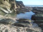 Beach walk to Looe at low tide
