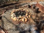Firepit with rustic seating