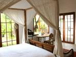 The Sunrise room as a king sized bed, aircon, ensuite and sweet little touches everywhere.