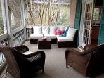 Lounge area of screen porch