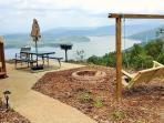 picnic table,,, charcoal grill,,,fire pit,,,swing all with awesome view,,, also have a large gazebo