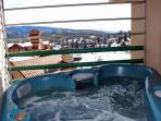 Private hot tub with amazing mountain and ski views