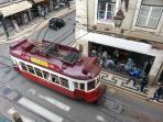 Touristic tramcar passing by