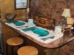 Snack Bar/Breakfast Bar for 2 in kitchen...nice for early risers.