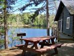 View of pond from cottage picnic area