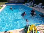 The main pool. We hold optional dive courses for adults and children each Wednesday evening.