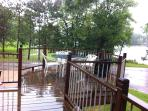 Huge Deck with magnificent view of Yellow Birch Lake & dining table chairs & chaises