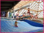Waterpark has flowrider surfing