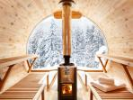 Marmotte Mountain Retreat - inside scenic wood fired sauna