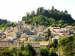 wahat yopu see  from the room : medieval citadel of Forcalquier, chapel sainte Marie on top