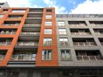 Street elevation of apartment block
