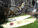 Surfboardf and bikes