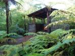 Mudstone Spa Retreats private outdoor Jacuzzi at The Spa Cottage