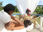 The large verandah is great for yoga (yoga mat is available), and massages without leaving home