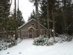 Studio Cottage from road in the Winter time