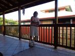Our front lanai.  Covered and protected from the rain.  Yep. That's me.  Aloha
