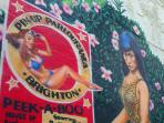 Giant Bettie Page wall mural on the Tropical Terrace