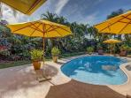 Tropical pool and carefully maintained garden with 100% privacy