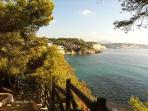 Foto turística del paseo hacia Benissa entre mar y pinos