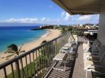 Amazing breathtaking view from lanai and most rooms.  Black rock, beach, sand, surf, and islands!