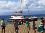 Catamarans in Kaanapali ready to take you cruising - dinner or snorkel cruises