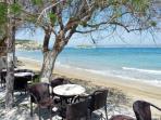 An Almyrida beach side taverna and Souda bay