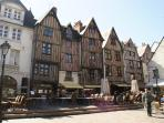 Tours Place Plumereau the historic centre half an hour by car/ train from Chissay, restaurants, bars