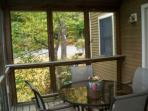 Screened porch to relax and eat outside