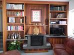 Fireplace and International TV set