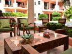 Private walk-out terrace with patio furniture