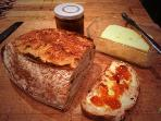 Order fresh sour dough bread and organic Welsh butter for your arrival to enjoy with Banceithin jam.