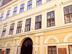 The facade of the house, the apartment is on the first floor