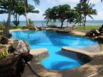 Tropical inground pool with spa.