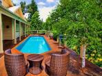 Solar heated salt water totally private pool