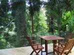 Outdoor Solid Wood Deck Floor and Wooden Furnitures on Balcony