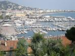 view from old town to harbour and Palais des festivals